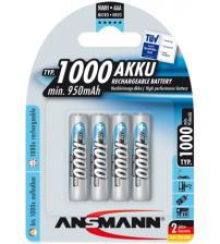 Ansmann 5030882 1.2V NiMH 1000mah AAA Rechargeable Batteries Carded 4