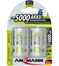 Ansmann 5030922 5000mAh MaxE 1.2V D Rechargeable Batteries Carded 2