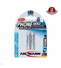 Ansmann 5035332 PhoneAkku NiMH 800mAh AAA Rechargeable Batteries Carded 2