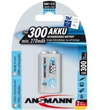 Ansmann 5035453 300mAh 9V MaxE 8.4v Rechargeable Batteries Carded 1
