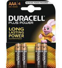 Duracell MN2400B4 Plus Power AAA Alkaline Batteries Carded 4