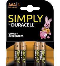 Duracell MN2400SIMPLY Simply AAA Alkalline Batteries Carded 4