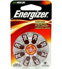 Energizer 634924 AC312-S8 1.4V Zinc Air Hearing Aid Batteries Carded 8