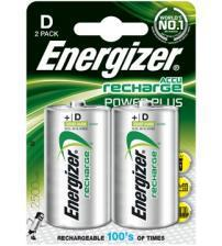 Energizer 635675 2500mAh HR20 Rechargeable D Batteries Carded 2