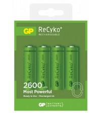 GP Batteries GPRHC272C216 Recyko+ Rechargeable AA 2600mAh Batteries Carded 4