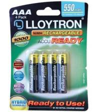 Lloytron B008 Ready to Use Rechargeable AAA 550mAh Batteries Carded 4