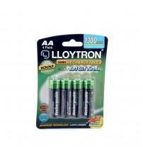Lloytron B012 Rechargeable AA Batteries NIMH AccuDigital 1300mAh High Power Carded 4