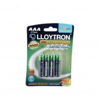Lloytron B014 Rechargeable AAA Batteries NIMH AccuDigital 550mAh High Power Carded 4