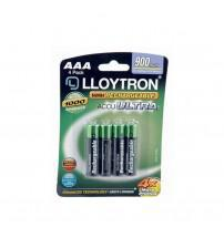 Lloytron B015 Rechargeable AAA Batteries NIMH AccuUltra 900mAh Ultra High Power Carded 4