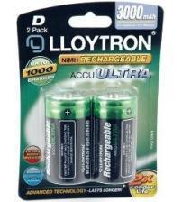 Lloytron B017 3000mAh D Rechargeable Batteries Carded 2