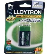 Lloytron B018 PP3 9V 250mAh Rechargeable Batteries Carded 1