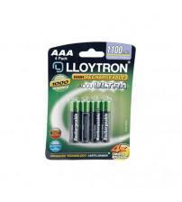 Lloytron B1004 AAA 1100mAh Rechargeables Alkaline Batteries Carded 4