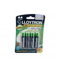 Lloytron B1025 NiMH AccuPower Rechargeable AA Batteries 2700mAH Carded 4