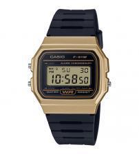 Casio F-91WM-9AEF Casual Digital Watch with Black Rubber Strap & Gold Plated Case