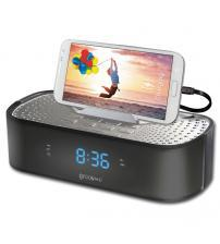 Groov-e GVSP406BK TimeCurve Alarm Clock Radio with USB Charging Station - Black