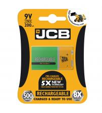 JCB S6420 200mAh 9V Rechargeable Batteries Carded 1