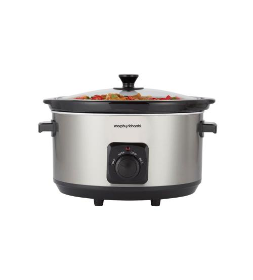 Morphy Richards 461013 6.5L Oval Ceramic Slow Cooker - Stainless Steel