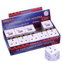 Omega 21102 Single 13 Amp Fused UK Mains Electrical 3 Way Socket Adaptor
