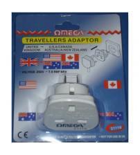 Omega 21116 UK to USA/CAN/AUS/NZ 2-Pin Plug Travel Adaptor