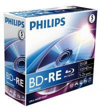Philips PHIBD-RE25GB5JC Blu-Ray ReWritable 25GB 2x (Jewel Case Pack of 5)