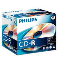 Philips PHICDR8010JC CD-R 80Min 700MB 52x (Jewel Case Pack of 10)