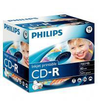 Philips PHICDR8010JCPRINT CD-R 80Min 700MB 52x (Inkjet Printable Jewel Case of 10)