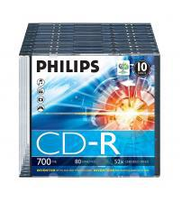 Philips PHICDR8010SLIM CD-R 80Min 700MB 52x (Slim Cases Pack of 10)