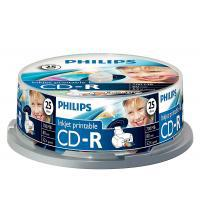 Philips PHICDR8025CBPRINT CD-R 80Min 700MB 52x (Inkjet Printable Spindle of 25)