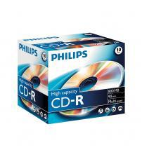Philips PHICDR9010JC CD-R 90Min 800MB 40x (Jewel Case Pack of 10)