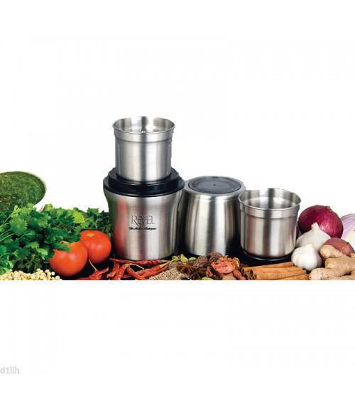 Revel CCM102 Wet and Dry Grinder with Two Separate Bowls 200W - Stainless Steel