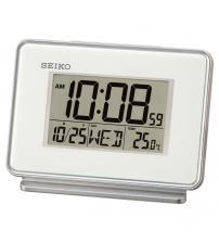 Seiko QHL068W LCD Dual Alarm Calendar Clock - White