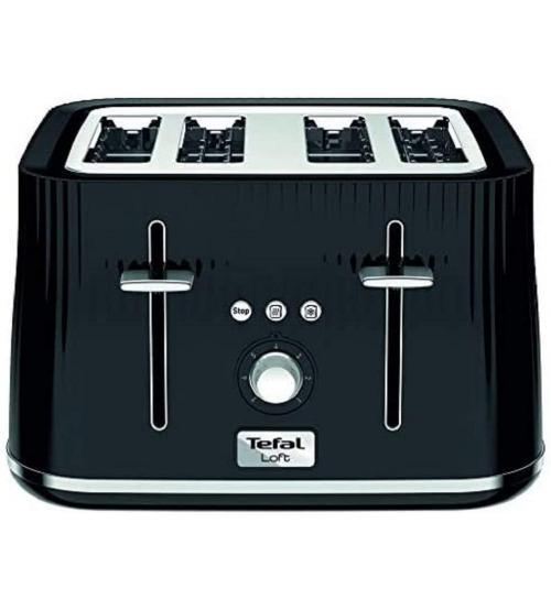 Tefal TT760840 1700W 4 Slice Loft Toaster - Noir Black